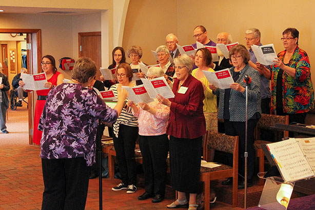 Choir singing at Redeemer lutheran church, 1555 S. James Road Columbus, Ohio 43227